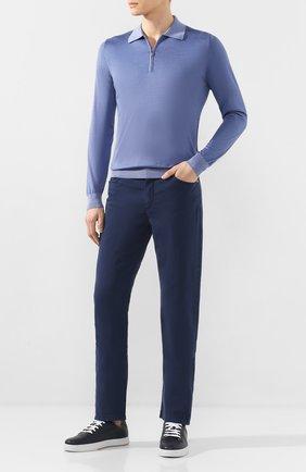 Мужской брюки из смеси хлопка и шелка ZILLI темно-синего цвета, арт. M0T-D0120-SPTE1/R001 | Фото 2