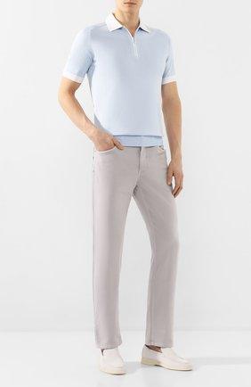 Мужской брюки из смеси хлопка и шелка ZILLI светло-серого цвета, арт. M0T-D0120-SPTE1/R001 | Фото 2