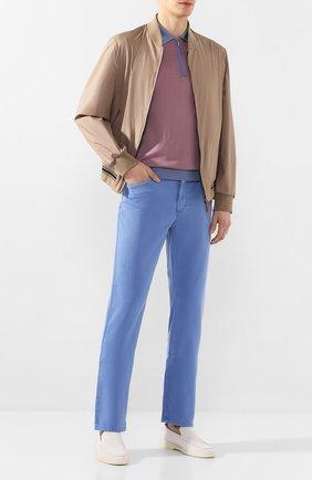 Мужской брюки из смеси хлопка и шелка ZILLI голубого цвета, арт. M0T-D0120-SPTE1/R001 | Фото 2