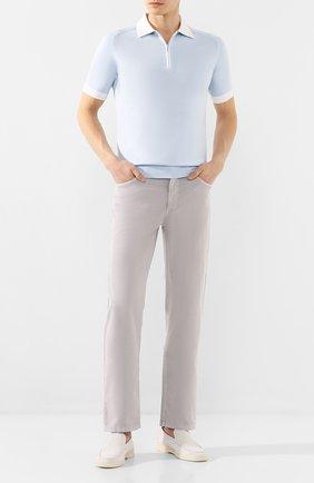 Мужское поло из смеси хлопка и шелка ZILLI голубого цвета, арт. MBT-PZ012-NECL1/MC02 | Фото 2
