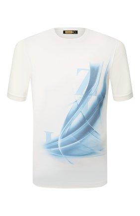 Мужская хлопковая футболка ZILLI белого цвета, арт. MET-NT330-LETT1/MC02 | Фото 1