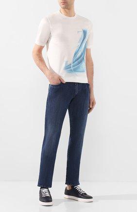 Мужская хлопковая футболка ZILLI белого цвета, арт. MET-NT330-LETT1/MC02 | Фото 2