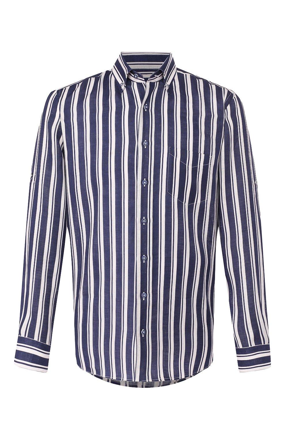 Мужская льняная рубашка ZILLI темно-синего цвета, арт. MFT-02103-84062/RZ01   Фото 1