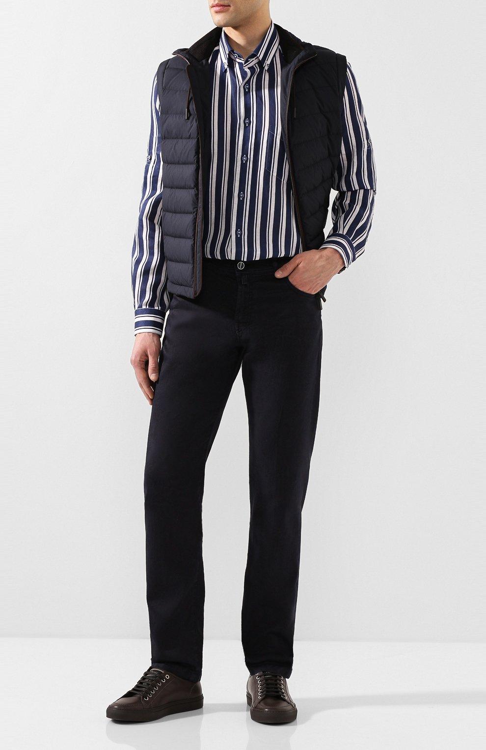 Мужская льняная рубашка ZILLI темно-синего цвета, арт. MFT-02103-84062/RZ01   Фото 2