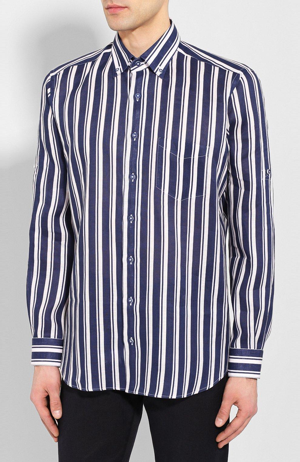 Мужская льняная рубашка ZILLI темно-синего цвета, арт. MFT-02103-84062/RZ01   Фото 3
