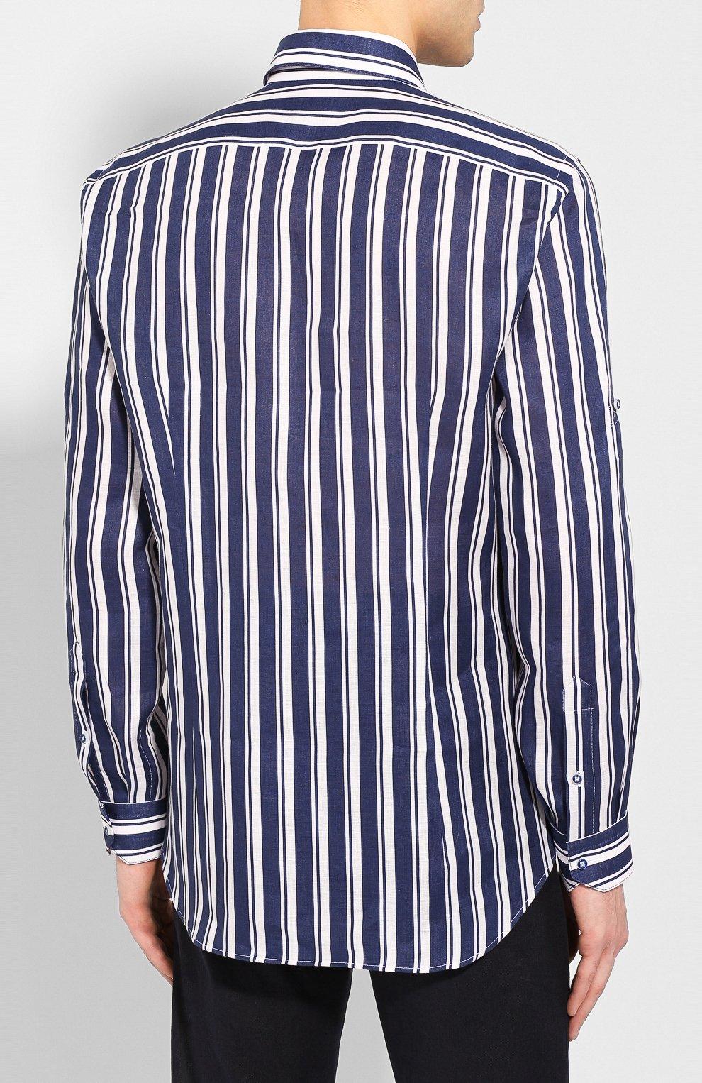 Мужская льняная рубашка ZILLI темно-синего цвета, арт. MFT-02103-84062/RZ01   Фото 4