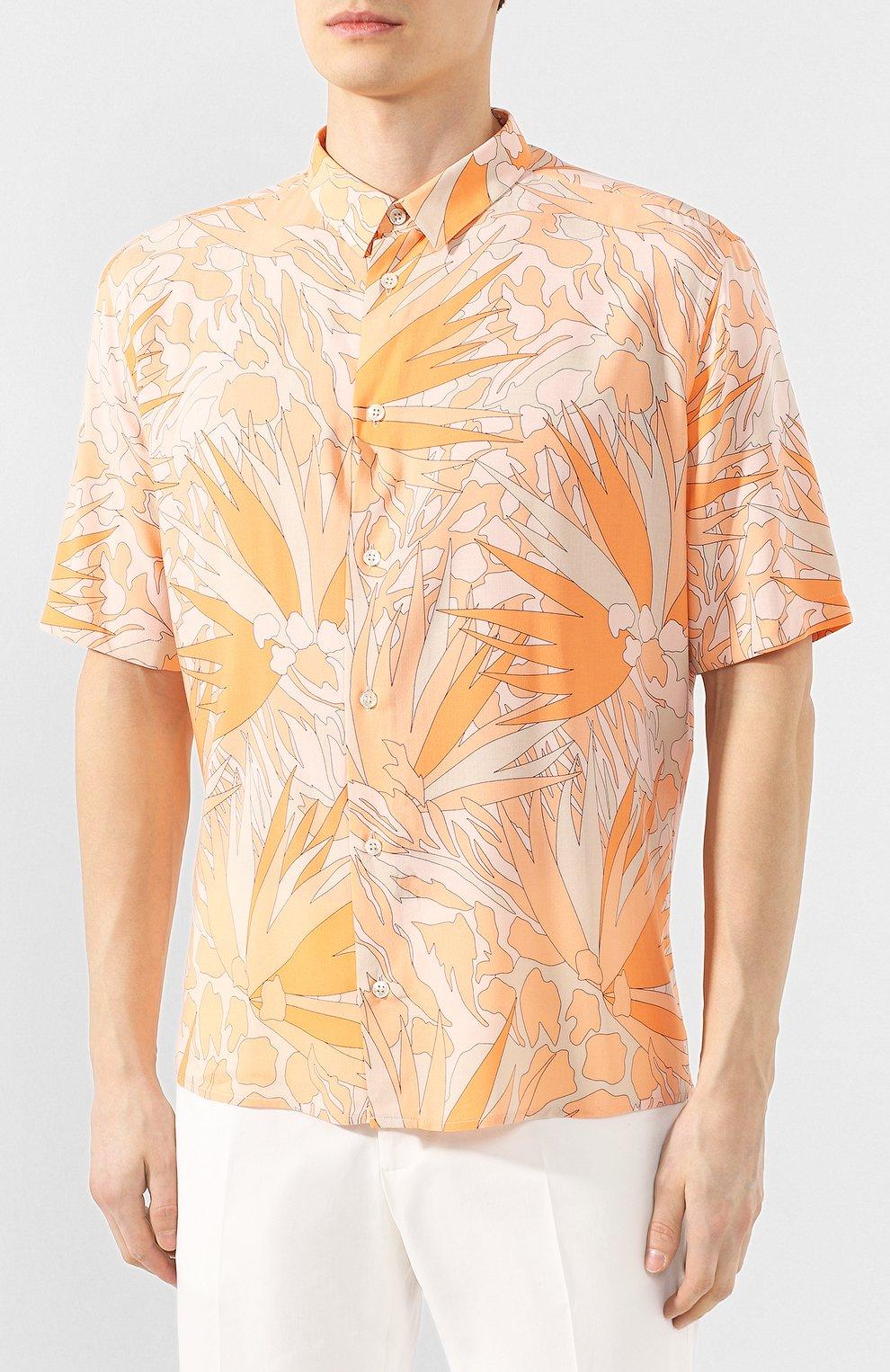Мужская рубашка из вискозы SAINT LAURENT оранжевого цвета, арт. 601070/Y2A27 | Фото 3