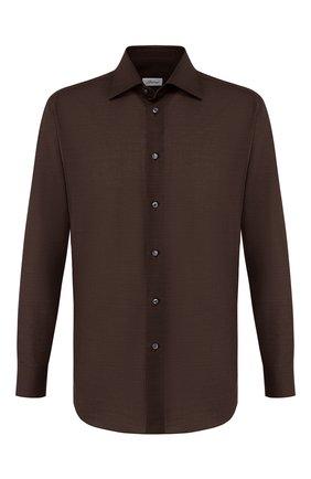 Мужская сорочка из смеси хлопка и льна BRIONI коричневого цвета, арт. RCLU1T/P906V | Фото 1