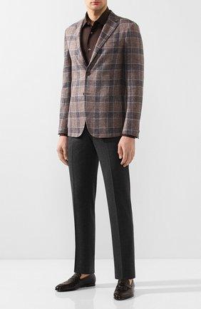 Мужская сорочка из смеси хлопка и льна BRIONI коричневого цвета, арт. RCLU1T/P906V | Фото 2