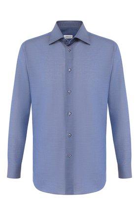 Мужская сорочка из смеси хлопка и льна BRIONI синего цвета, арт. RCLU1T/P906V   Фото 1