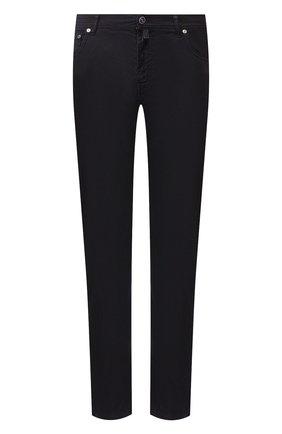 Мужские брюки из смеси льна и хлопка KITON темно-синего цвета, арт. UPNJSJ07S41   Фото 1