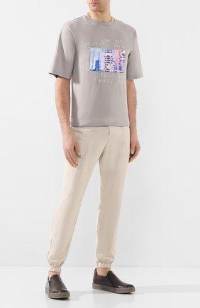 Мужской джоггеры TRANSIT бежевого цвета, арт. CFUTRKE140 | Фото 2