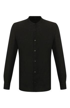 Мужская льняная рубашка Z ZEGNA черного цвета, арт. VU230/ZCSG1 | Фото 1