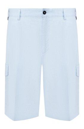 Мужские льняные шорты DOLCE & GABBANA голубого цвета, арт. GW3JAT/FU4JB | Фото 1 (Материал внешний: Лен; Принт: Без принта; Длина Шорты М: До колена; Мужское Кросс-КТ: Шорты-одежда; Стили: Кэжуэл)