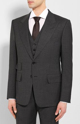 Мужской шерстяной костюм-тройка TOM FORD серого цвета, арт. 711R16/31AL41 | Фото 2