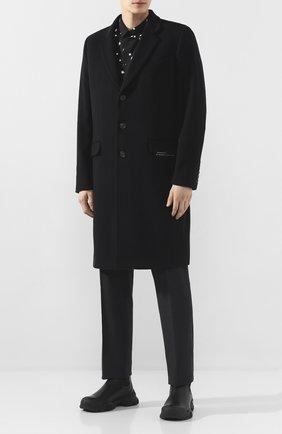 Мужской пальто из смеси шерсти и кашемира GIVENCHY черного цвета, арт. BMC03G1084 | Фото 2