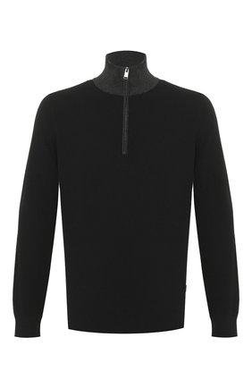 Мужской свитер из смеси хлопка и шерсти BOSS черного цвета, арт. 50423347 | Фото 1