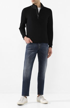Мужской свитер из смеси хлопка и шерсти BOSS черного цвета, арт. 50423347 | Фото 2