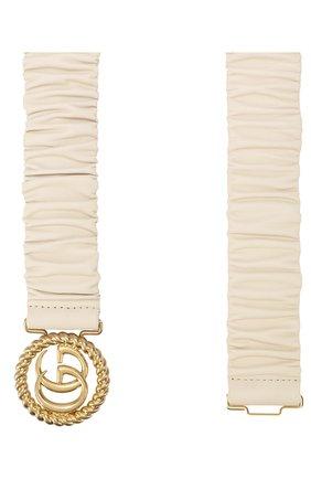 Женский кожаный пояс GUCCI белого цвета, арт. 602074/B340G | Фото 2