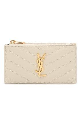 Женский кожаный футляр для кредитных карт SAINT LAURENT белого цвета, арт. 607915/B0W01 | Фото 1