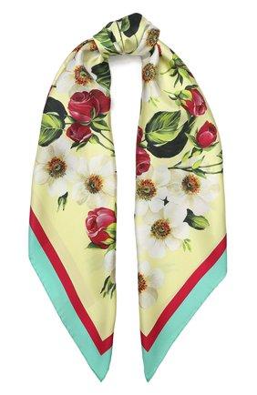 Женский шелковый платок DOLCE & GABBANA желтого цвета, арт. FN090R/GDS51 | Фото 1