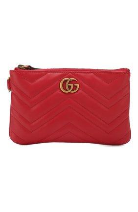 Женские кожаный кошелек gg marmont GUCCI красного цвета, арт. 598598/DTDCT | Фото 1