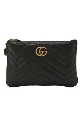 Женские кожаный кошелек gg marmont GUCCI черного цвета, арт. 598598/DTDCT | Фото 1