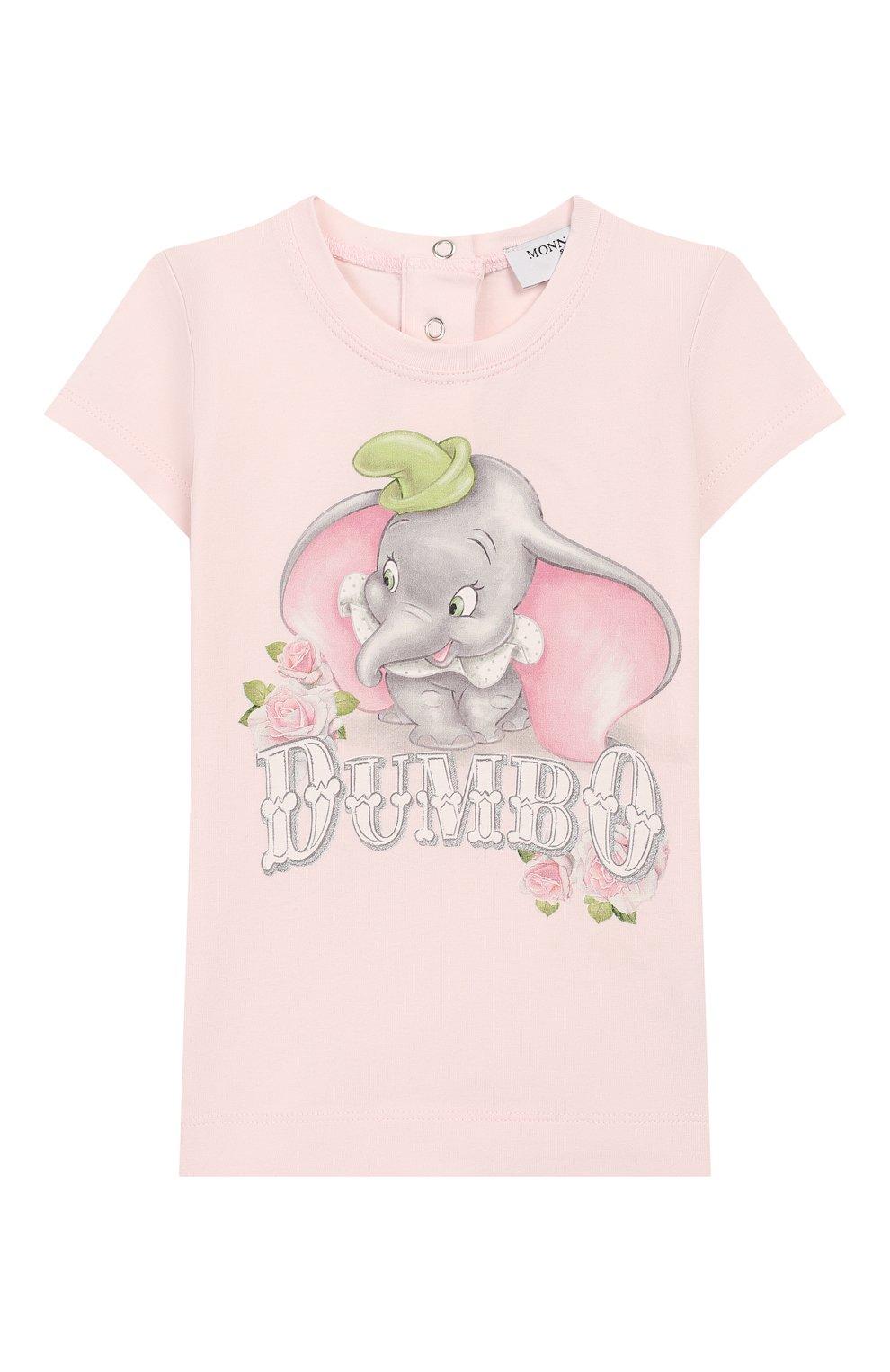 Детский хлопковая футболка MONNALISA розового цвета, арт. 395609SD   Фото 1