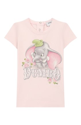 Детский хлопковая футболка MONNALISA розового цвета, арт. 395609SD | Фото 1