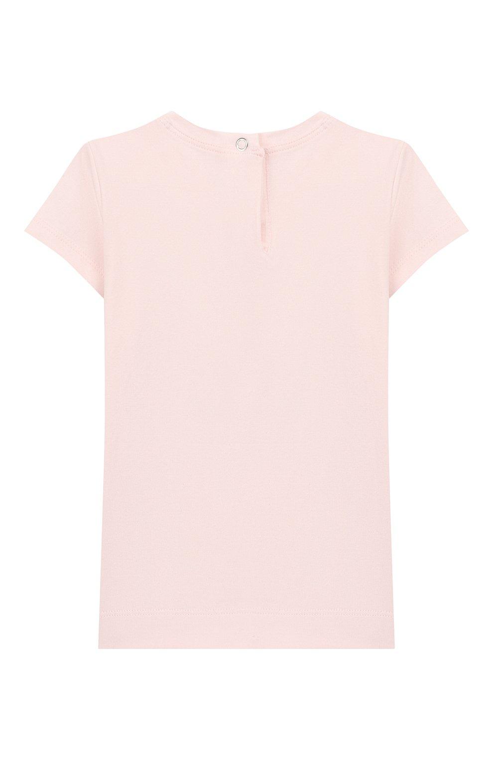 Детский хлопковая футболка MONNALISA розового цвета, арт. 395609SD   Фото 2
