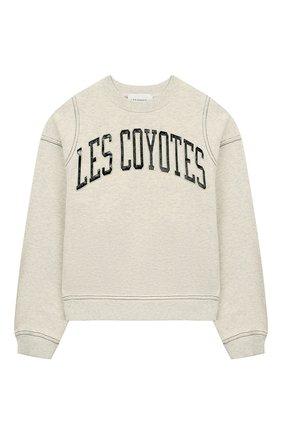 Детский хлопковый свитшот LES COYOTES DE PARIS светло-серого цвета, арт. 111-21-064   Фото 1