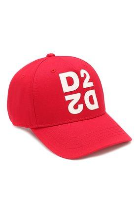 Детская хлопковая бейсболка DSQUARED2 красного цвета, арт. DQ03XE-D00I8 | Фото 1
