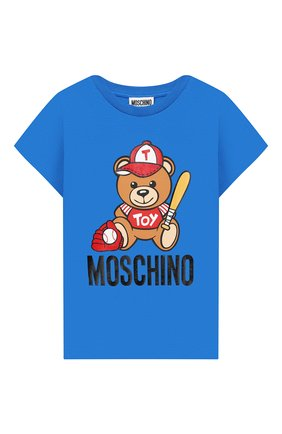 Детская хлопковая футболка MOSCHINO KID синего цвета, арт. H5M01I/LBA10/4A-8A | Фото 1