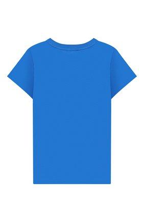 Детская хлопковая футболка MOSCHINO KID синего цвета, арт. H5M01I/LBA10/4A-8A | Фото 2