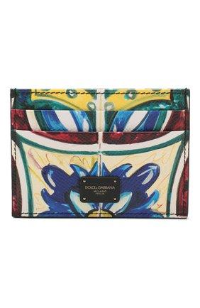 Мужской кожаный футляр для кредитных карт DOLCE & GABBANA синего цвета, арт. BP0330/AZ657 | Фото 1