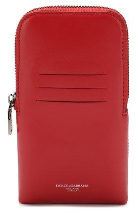Мужского кожаный чехол для iphone DOLCE & GABBANA красного цвета, арт. BP2576/AJ806 | Фото 1