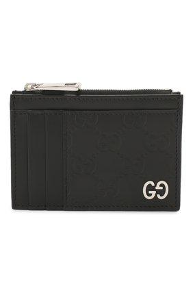 Мужской кожаный футляр для кредитных карт GUCCI черного цвета, арт. 597560/CWC1N | Фото 1