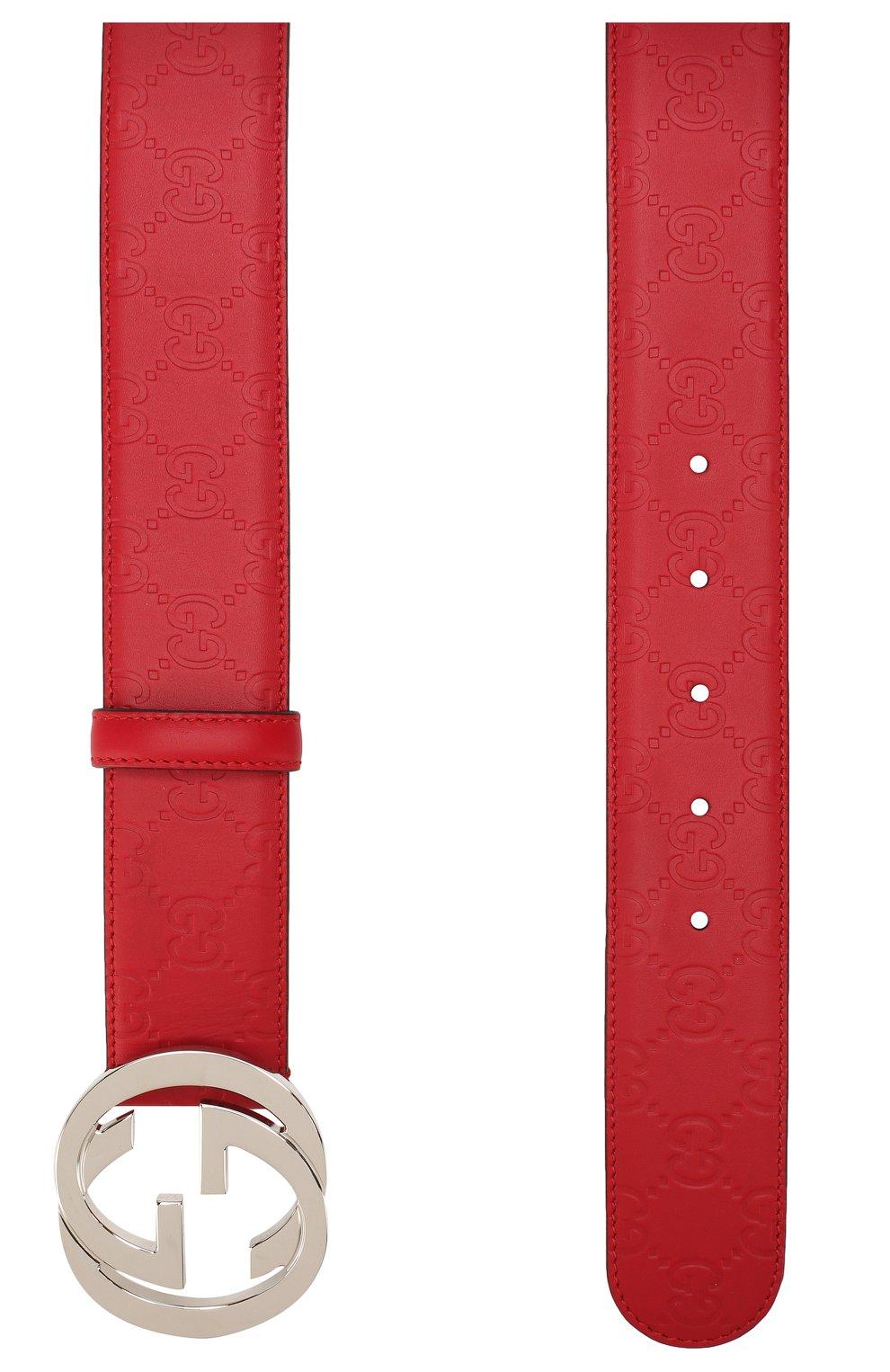 Мужской кожаный ремень signature GUCCI красного цвета, арт. 411924/CWC1N | Фото 2