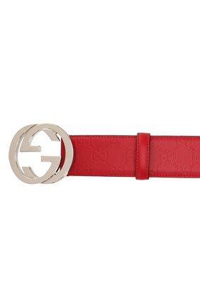 Мужской кожаный ремень signature GUCCI красного цвета, арт. 411924/CWC1N | Фото 3