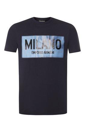 Мужская хлопковая футболка EMPORIO ARMANI темно-синего цвета, арт. 3H1T62/1J30Z   Фото 1
