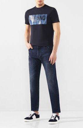 Мужская хлопковая футболка EMPORIO ARMANI темно-синего цвета, арт. 3H1T62/1J30Z   Фото 2