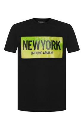 Мужская хлопковая футболка EMPORIO ARMANI черного цвета, арт. 3H1T62/1J30Z   Фото 1