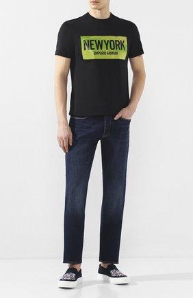 Мужская хлопковая футболка EMPORIO ARMANI черного цвета, арт. 3H1T62/1J30Z   Фото 2