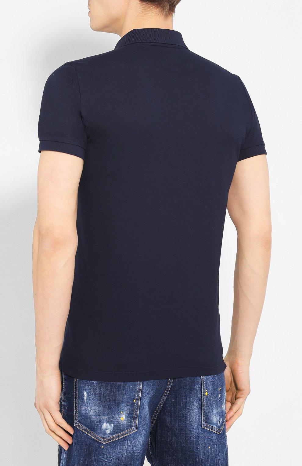Мужское хлопковое поло DSQUARED2 синего цвета, арт. S74GL0036/S22743 | Фото 4