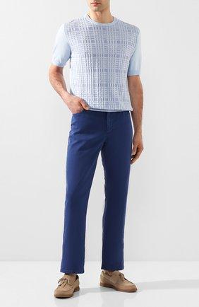 Мужской брюки из смеси хлопка и шелка ZILLI синего цвета, арт. M0T-D0120-SPTE1/R001 | Фото 2