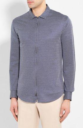 Мужская хлопковая рубашка GIORGIO ARMANI темно-серого цвета, арт. 8WGCCZ5H/JZ556 | Фото 3