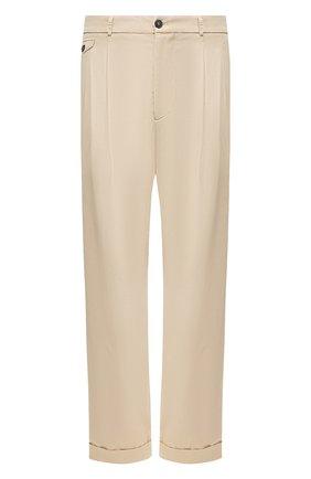 Мужские хлопковые брюки GIORGIO ARMANI бежевого цвета, арт. 0SGPP0B0/T01MP   Фото 1