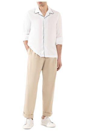 Мужские хлопковые брюки GIORGIO ARMANI бежевого цвета, арт. 0SGPP0B0/T01MP   Фото 2