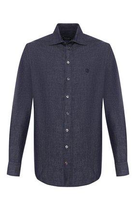 Мужская рубашка из смеси хлопка и льна GIORGIO ARMANI синего цвета, арт. 0SGCCZMC/TZ568 | Фото 1