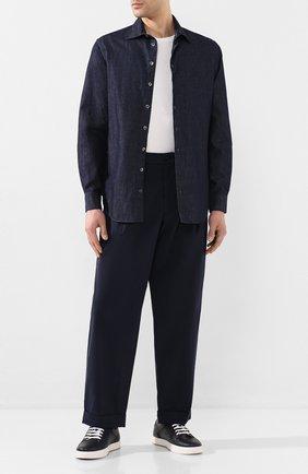 Мужская рубашка из смеси хлопка и льна GIORGIO ARMANI синего цвета, арт. 0SGCCZMC/TZ568 | Фото 2